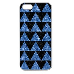Triangle2 Black Marble & Blue Marble Apple Seamless Iphone 5 Case (clear) by trendistuff