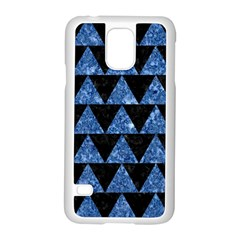 Triangle2 Black Marble & Blue Marble Samsung Galaxy S5 Case (white) by trendistuff