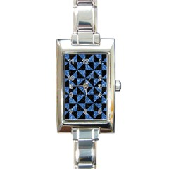 Triangle1 Black Marble & Blue Marble Rectangle Italian Charm Watch by trendistuff