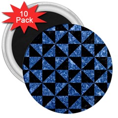 Triangle1 Black Marble & Blue Marble 3  Magnet (10 Pack) by trendistuff