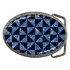 Triangle1 Black Marble & Blue Marble Belt Buckle