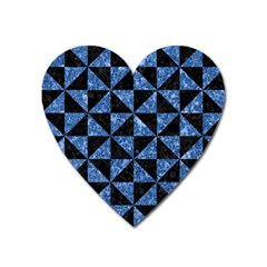 Triangle1 Black Marble & Blue Marble Magnet (heart) by trendistuff
