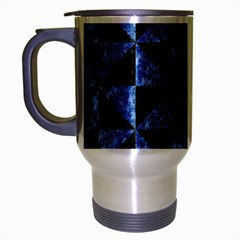 Triangle1 Black Marble & Blue Marble Travel Mug (silver Gray) by trendistuff