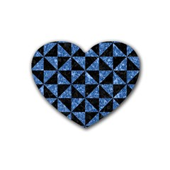 Triangle1 Black Marble & Blue Marble Rubber Heart Coaster (4 Pack) by trendistuff