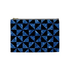 Triangle1 Black Marble & Blue Marble Cosmetic Bag (medium) by trendistuff
