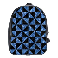 Triangle1 Black Marble & Blue Marble School Bag (large) by trendistuff