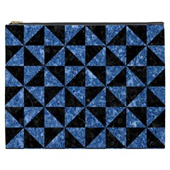 Triangle1 Black Marble & Blue Marble Cosmetic Bag (xxxl) by trendistuff