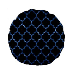 Tile1 Black Marble & Blue Marble (r) Standard 15  Premium Flano Round Cushion  by trendistuff