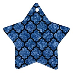 Tile1 Black Marble & Blue Marble Ornament (star) by trendistuff