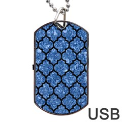 Tile1 Black Marble & Blue Marble Dog Tag Usb Flash (one Side) by trendistuff