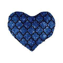 Tile1 Black Marble & Blue Marble Standard 16  Premium Flano Heart Shape Cushion  by trendistuff