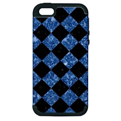 Square2 Black Marble & Blue Marble Apple Iphone 5 Hardshell Case (pc+silicone) by trendistuff
