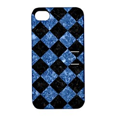 Square2 Black Marble & Blue Marble Apple Iphone 4/4s Hardshell Case With Stand by trendistuff