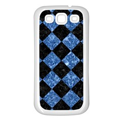Square2 Black Marble & Blue Marble Samsung Galaxy S3 Back Case (white) by trendistuff