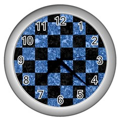 Square1 Black Marble & Blue Marble Wall Clock (silver) by trendistuff