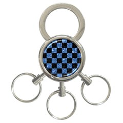 Square1 Black Marble & Blue Marble 3 Ring Key Chain by trendistuff