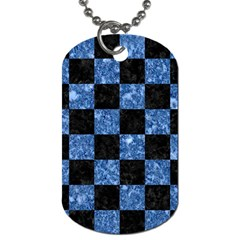 Square1 Black Marble & Blue Marble Dog Tag (one Side) by trendistuff