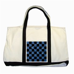 Square1 Black Marble & Blue Marble Two Tone Tote Bag by trendistuff