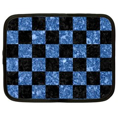 Square1 Black Marble & Blue Marble Netbook Case (large) by trendistuff