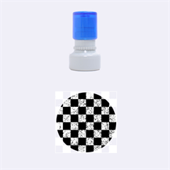 Square1 Black Marble & Blue Marble Rubber Stamp Round (small) by trendistuff