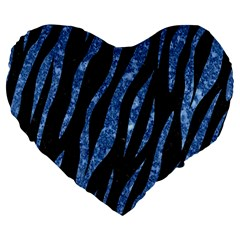 Skin3 Black Marble & Blue Marble (r) Large 19  Premium Flano Heart Shape Cushion by trendistuff