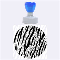 Skin3 Black Marble & Blue Marble Rubber Stamp Round (large) by trendistuff