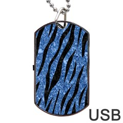 Skin3 Black Marble & Blue Marble Dog Tag Usb Flash (two Sides) by trendistuff