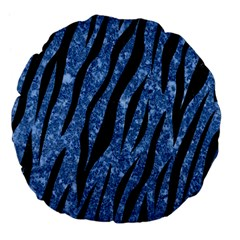 Skin3 Black Marble & Blue Marble Large 18  Premium Flano Round Cushion  by trendistuff
