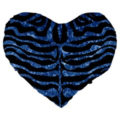 Skin2 Black Marble & Blue Marble (r) Large 19  Premium Heart Shape Cushion by trendistuff