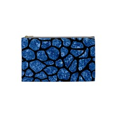 Skin1 Black Marble & Blue Marble (r) Cosmetic Bag (small) by trendistuff