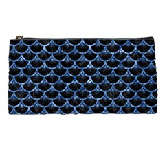 Scales3 Black Marble & Blue Marble (r) Pencil Case by trendistuff