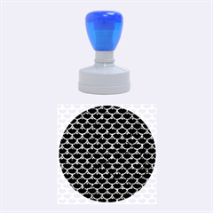 Scales3 Black Marble & Blue Marble (r) Rubber Stamp Round (medium) by trendistuff