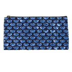 Scales3 Black Marble & Blue Marble Pencil Case by trendistuff