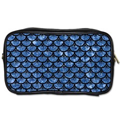 Scales3 Black Marble & Blue Marble Toiletries Bag (two Sides) by trendistuff
