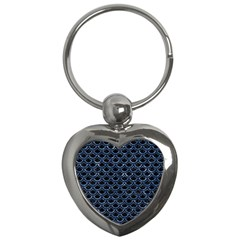 Scales2 Black Marble & Blue Marble (r) Key Chain (heart) by trendistuff