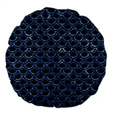 Scales2 Black Marble & Blue Marble (r) Large 18  Premium Round Cushion  by trendistuff
