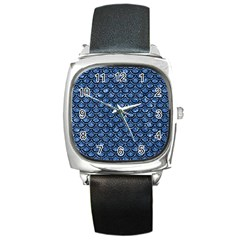 Scales2 Black Marble & Blue Marble Square Metal Watch by trendistuff