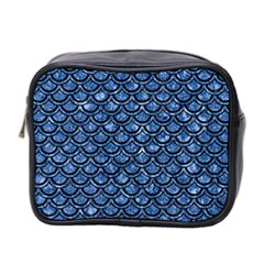 Scales2 Black Marble & Blue Marble Mini Toiletries Bag (two Sides) by trendistuff