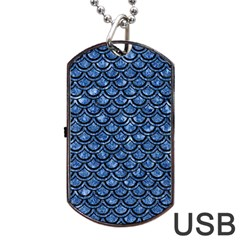Scales2 Black Marble & Blue Marble Dog Tag Usb Flash (one Side) by trendistuff