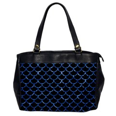 Scales1 Black Marble & Blue Marble (r) Oversize Office Handbag by trendistuff