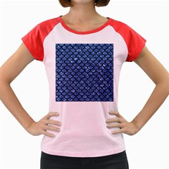 Scales1 Black Marble & Blue Marble Women s Cap Sleeve T Shirt