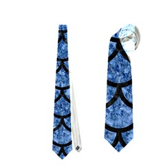 Scales1 Black Marble & Blue Marble Necktie (one Side) by trendistuff