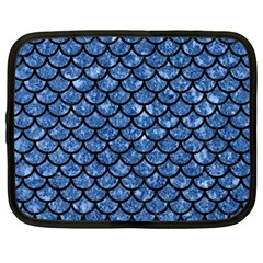 Scales1 Black Marble & Blue Marble Netbook Case (large) by trendistuff