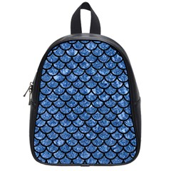 Scales1 Black Marble & Blue Marble School Bag (small) by trendistuff