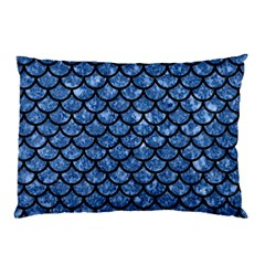 Scales1 Black Marble & Blue Marble Pillow Case (two Sides) by trendistuff