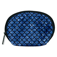 Scales1 Black Marble & Blue Marble Accessory Pouch (medium) by trendistuff
