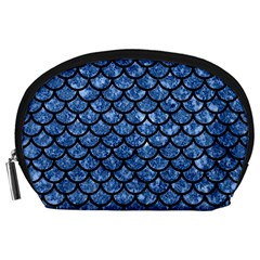 Scales1 Black Marble & Blue Marble Accessory Pouch (large) by trendistuff