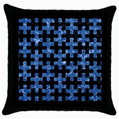Puzzle1 Black Marble & Blue Marble Throw Pillow Case (black) by trendistuff