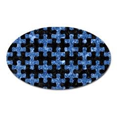 Puzzle1 Black Marble & Blue Marble Magnet (oval) by trendistuff