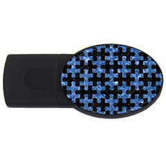 Puzzle1 Black Marble & Blue Marble Usb Flash Drive Oval (2 Gb) by trendistuff
